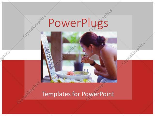 PowerPoint Template Displaying a Lady Working on her Makeover