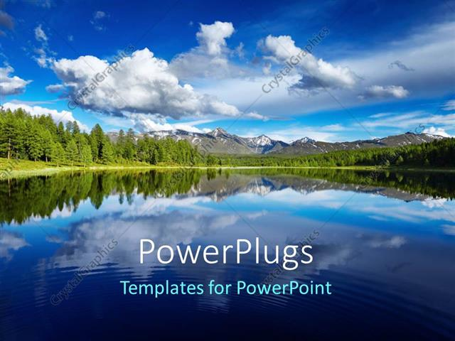 PowerPoint Template Displaying a Lake and a Lot of Greenery with Clouds in the Background