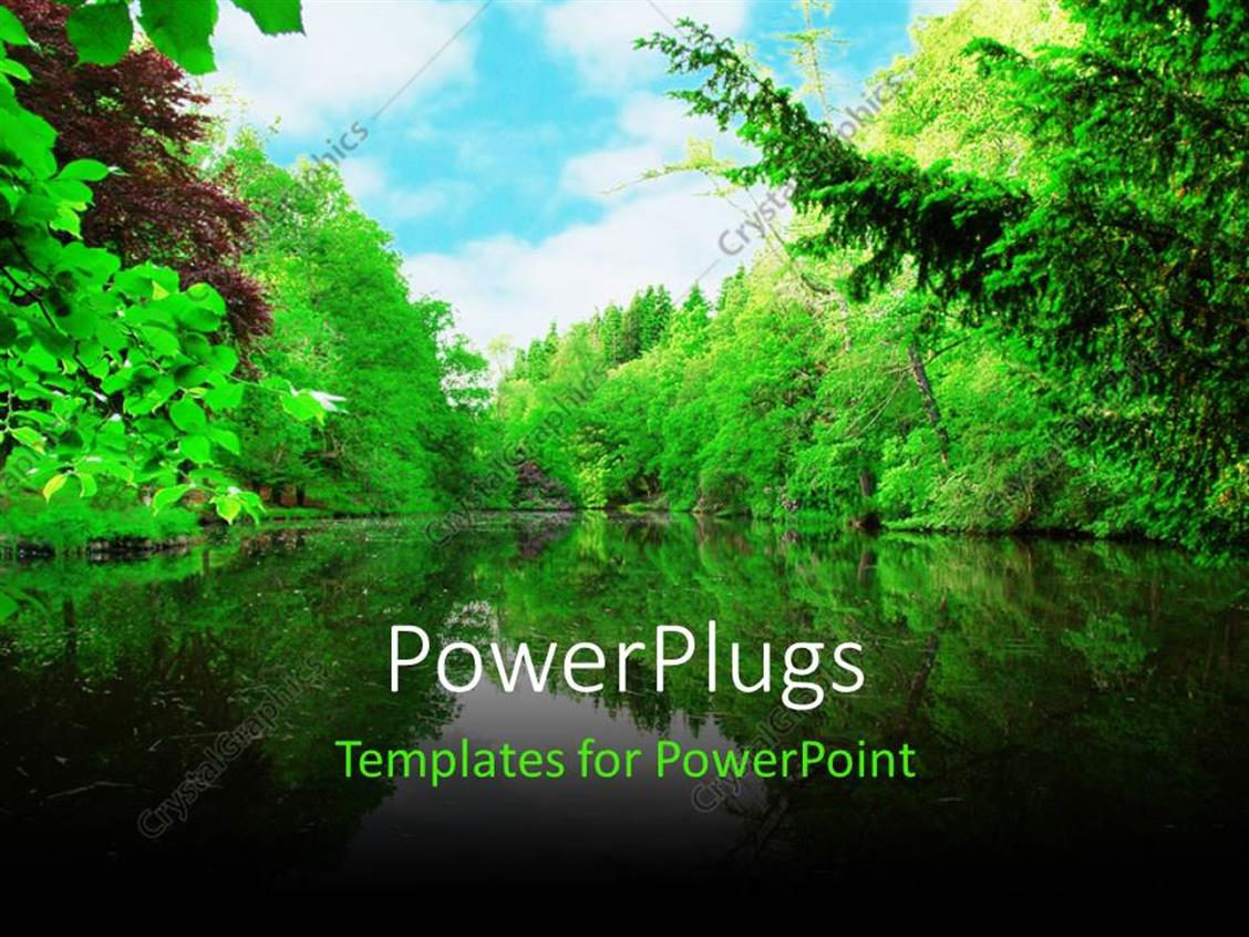 PowerPoint Template Displaying a Lake and a Number of Trees on its Sides