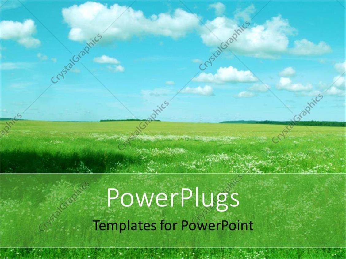 Powerpoint Template Landscape With Green Field Blue Sky And White