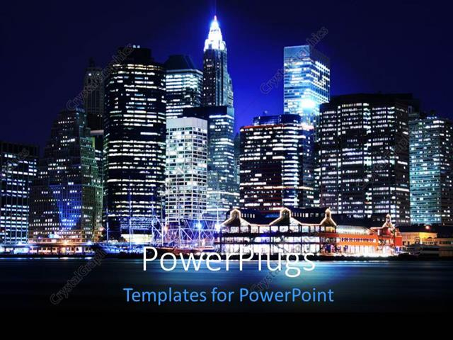 PowerPoint Template Displaying Landscape of Lower Manhattan New York Skyline at Night