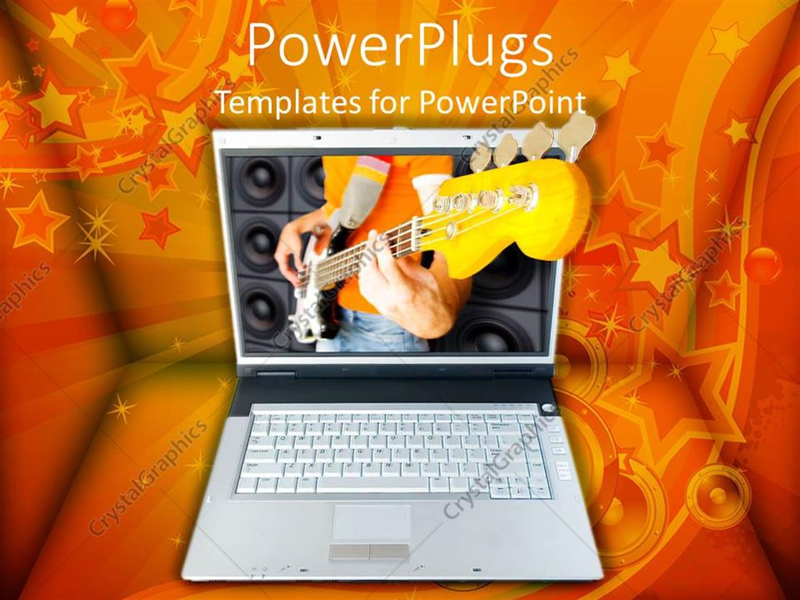 PowerPoint Template Displaying Laptop with 3D Image of Man Playing Electric Guitar, Orange Swirl, Star and Speaker Background