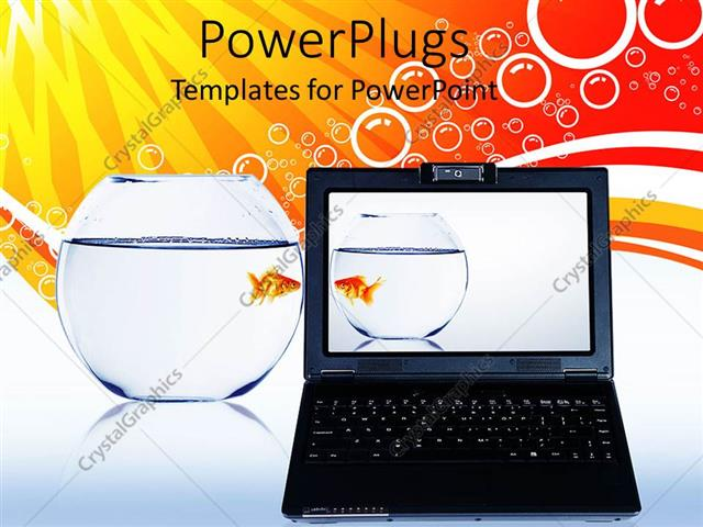 PowerPoint Template Displaying a Laptop with an Acquarium and Multicolored Background
