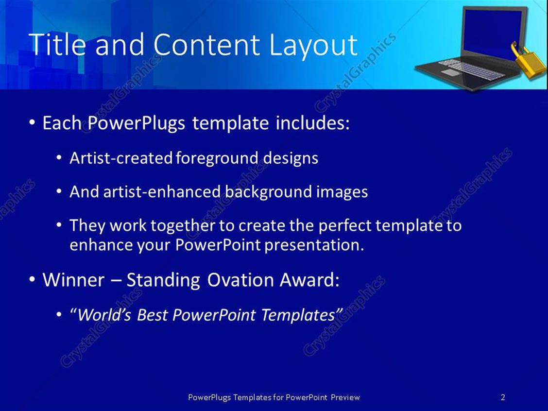 Powerpoint template a laptop being secured along with a globe 18401 powerpoint products templates secure alramifo Image collections