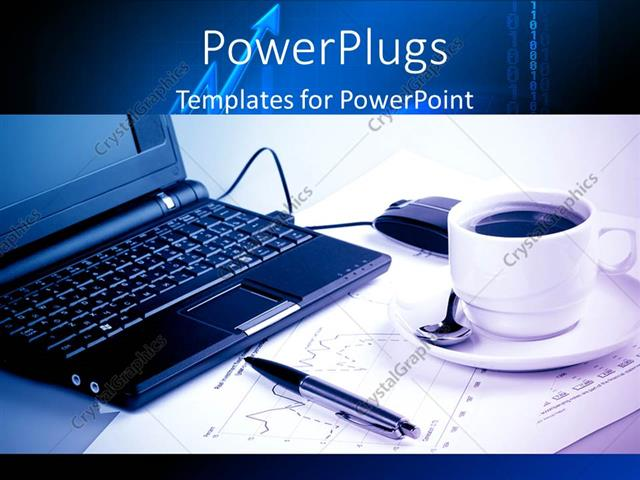 powerpoint template a laptop with a cup of coffee and white