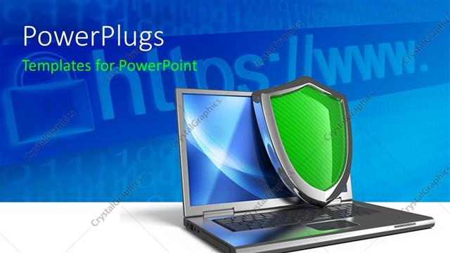 PowerPoint Template Displaying Laptop with Internet Security and Firewall Concept