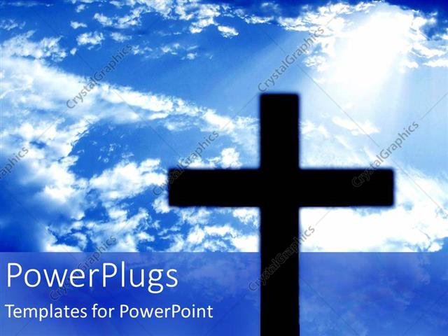 PowerPoint Template Displaying a large Black Cross on a Clear Blue Sky Background