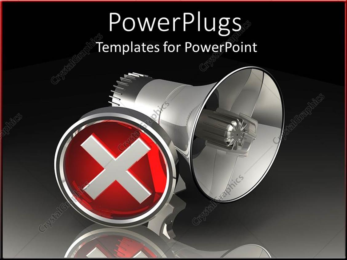 PowerPoint Template Displaying large Black Mega Phone with a Red Stop Symbol