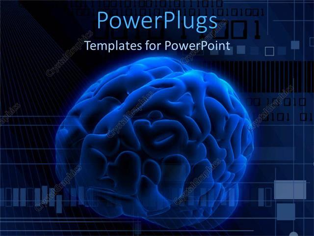 Powerpoint template a large blue colored 3d human brain and some powerpoint template displaying a large blue colored 3d human brain and some binary toneelgroepblik Image collections