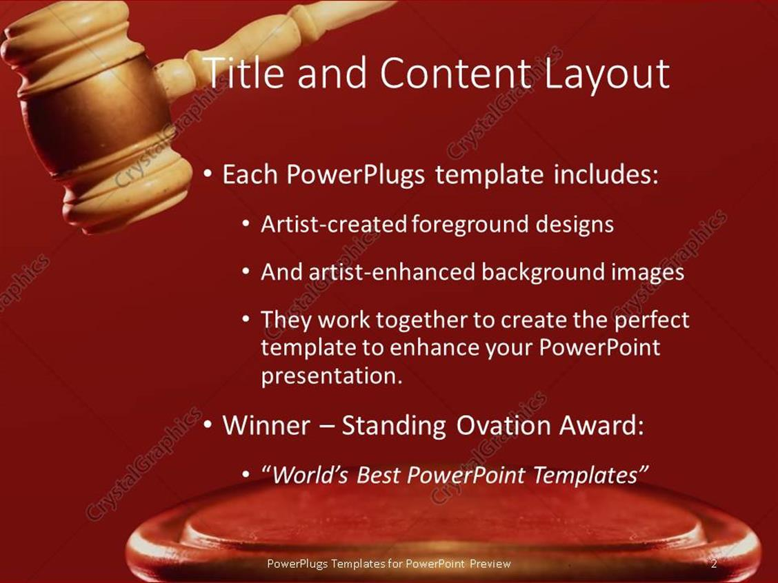 Powerpoint template a large brown colored gavel on a red surface powerpoint products templates secure standing ovation award toneelgroepblik Choice Image