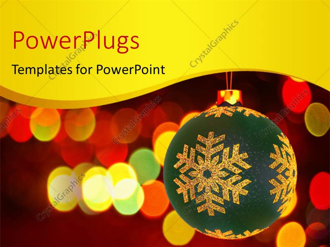 PowerPoint Template Displaying large Christmas Ornament Hanging with Blurred Colorful Lights in Background