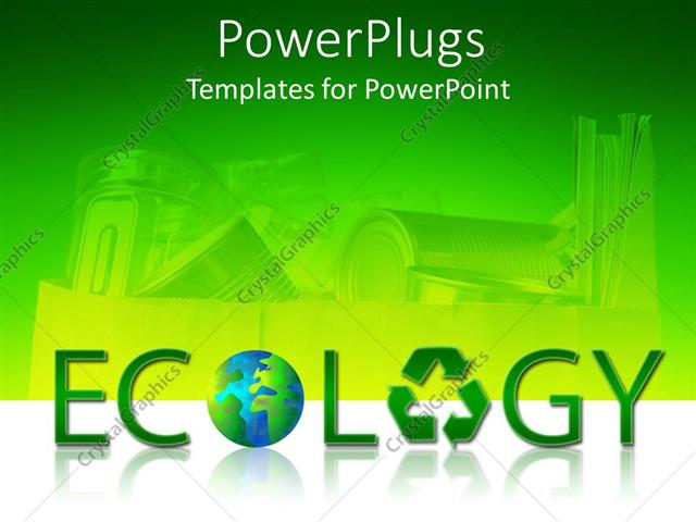 Powerpoint Template Large Green Ecology Text With A Recycle Symbol