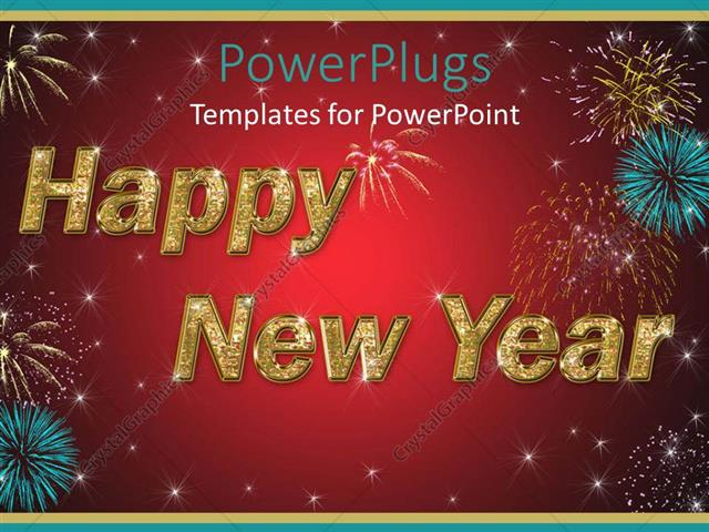 powerpoint template displaying large happy new year text with fireworks and red background