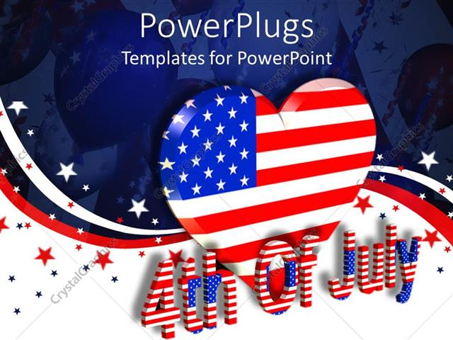 powerpoint template a large heart with the usa flag color and a