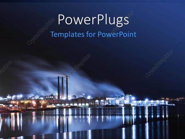 Powerpoint template large industry by the water and lights 17300 powerpoint template displaying large industry by the water and lights toneelgroepblik Gallery