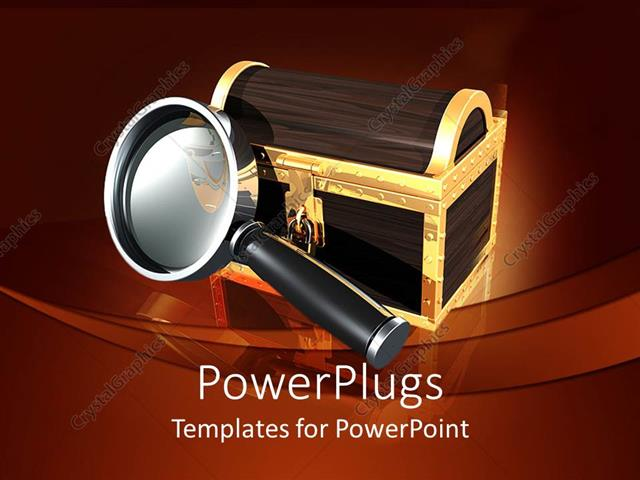 PowerPoint Template Displaying large Magnifying Glass and a Locked Box with Gold Edges