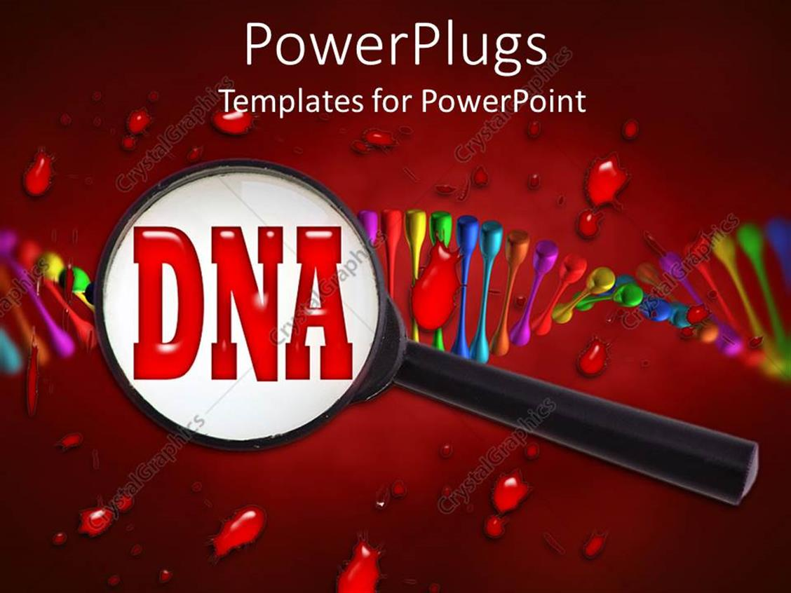 PowerPoint Template Displaying large Magnifying Glass on Red Word DNA with Colorful Abstract DNA Strand on Blood and Red Background