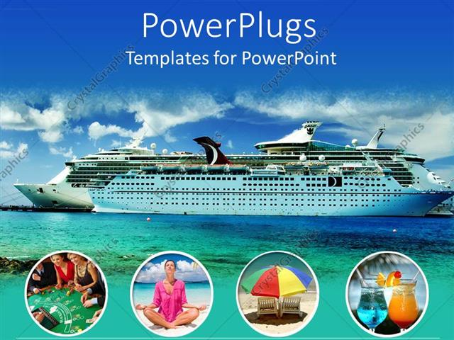 PowerPoint Template: Large modern cruise ship  lots of free