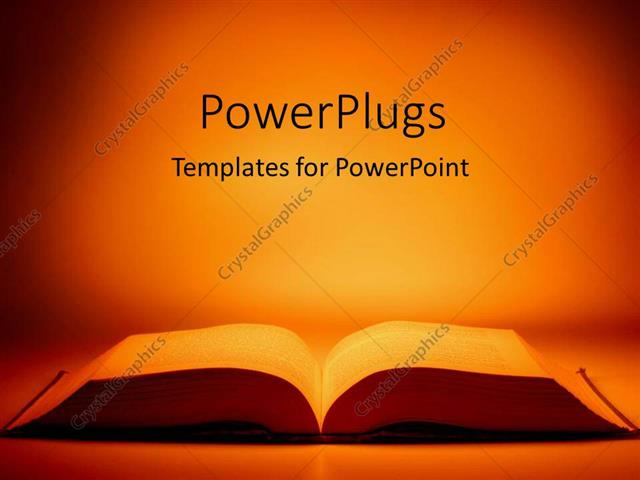 PowerPoint Template: large open book on table with orange light ...