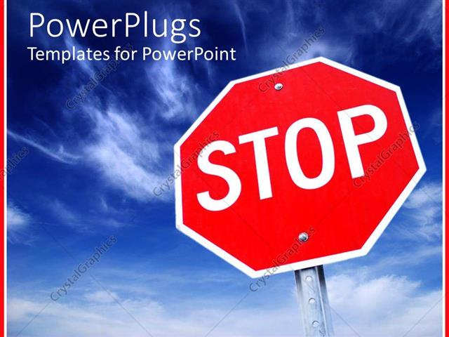 powerpoint template large red stop sign with clear blue sky