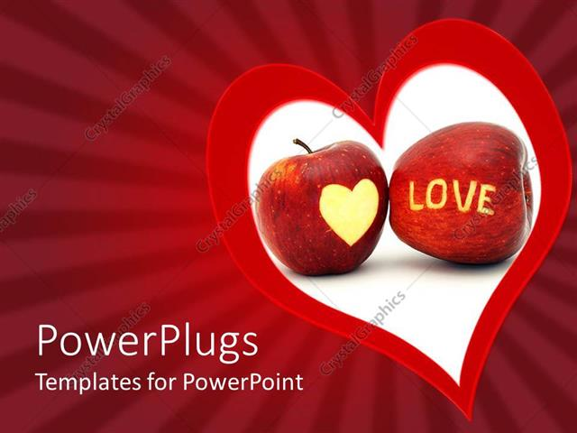 Powerpoint Template A Large Red And White Heart Symbol With Two