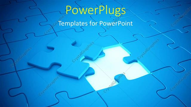 PowerPoint Template Displaying a Number of Puzzle Pieces with a Missing One