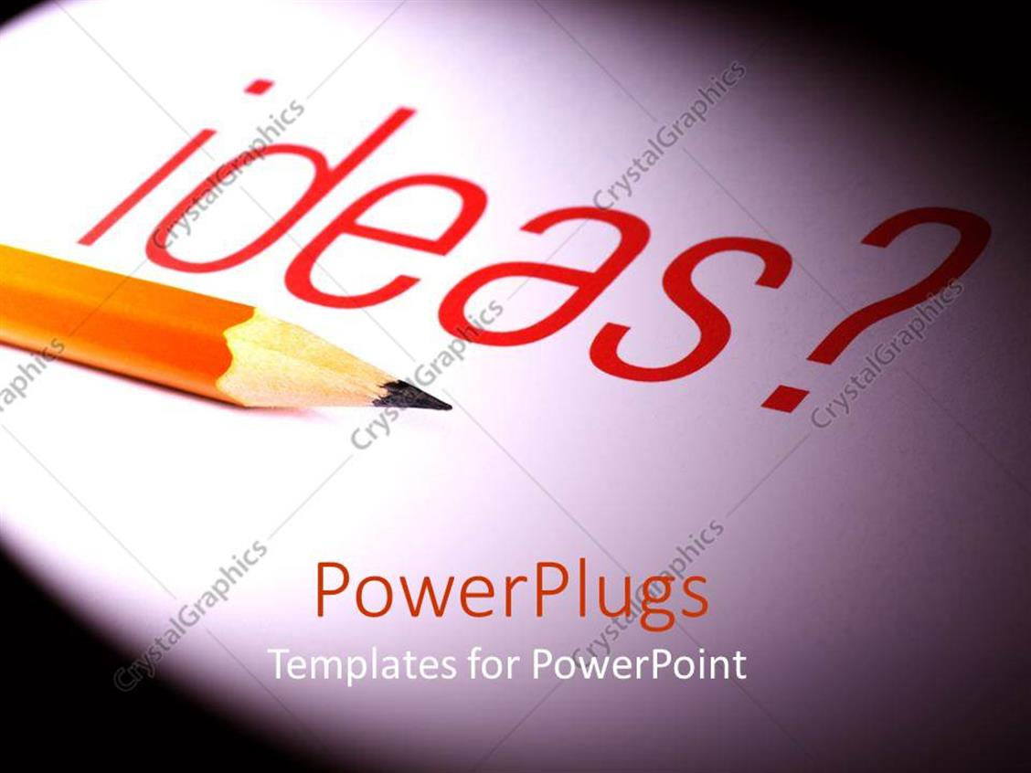 PowerPoint Template Displaying a Lead Pencil Along with the Word Ideas in the Background