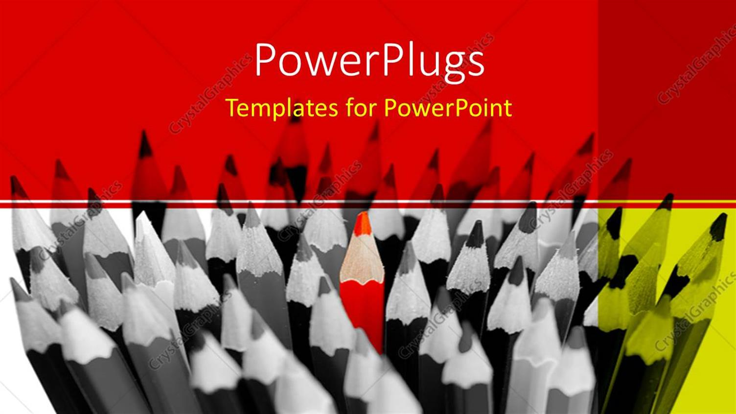 PowerPoint Template Displaying Black and White View of a Bunch of Color Pencils