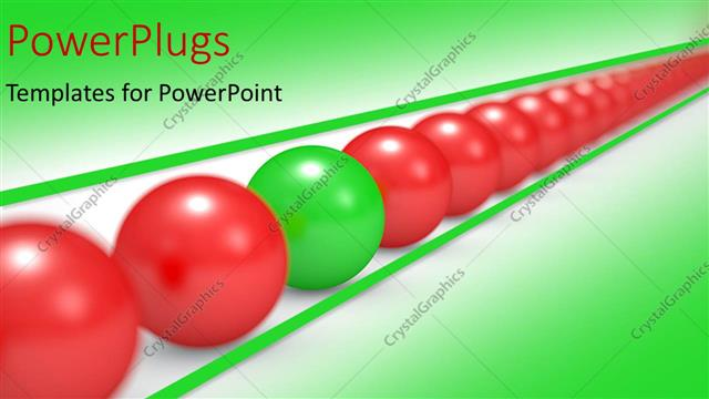 PowerPoint Template Displaying an Arranged Line of Red Colored Balls with a Green One in Between