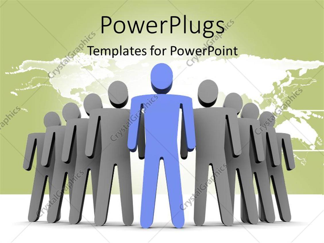 PowerPoint Template Displaying Leadership Depiction with Blue 3D Man Leading Grey Team