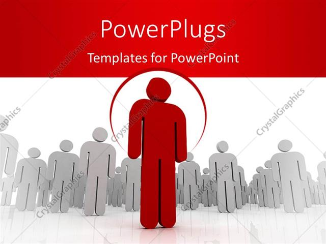 PowerPoint Template Displaying Leadership Depiction with Distinct Red Colored Man Leading Team