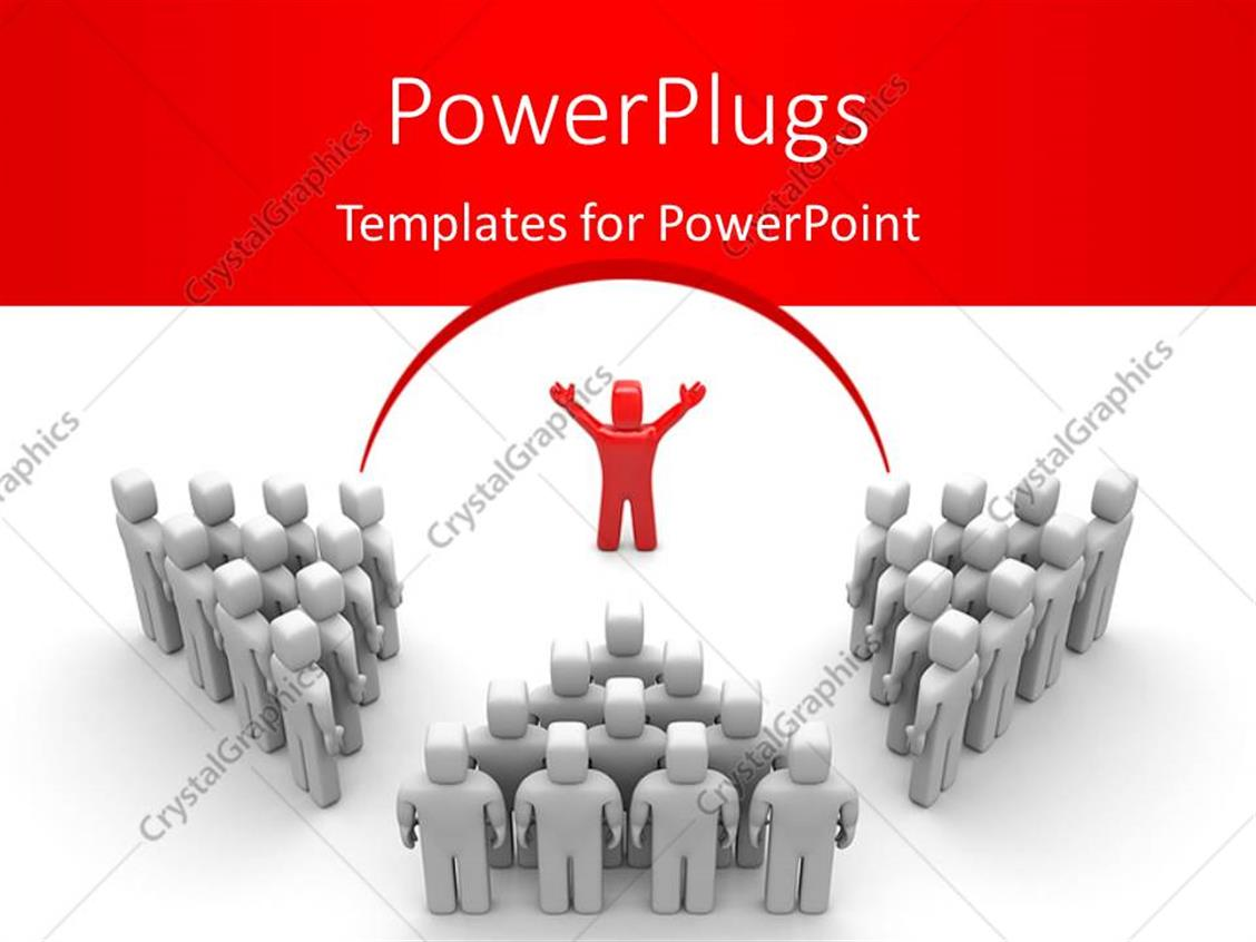 PowerPoint Template Displaying Leadership Depiction with Red Colored Leader Directing Three Teams