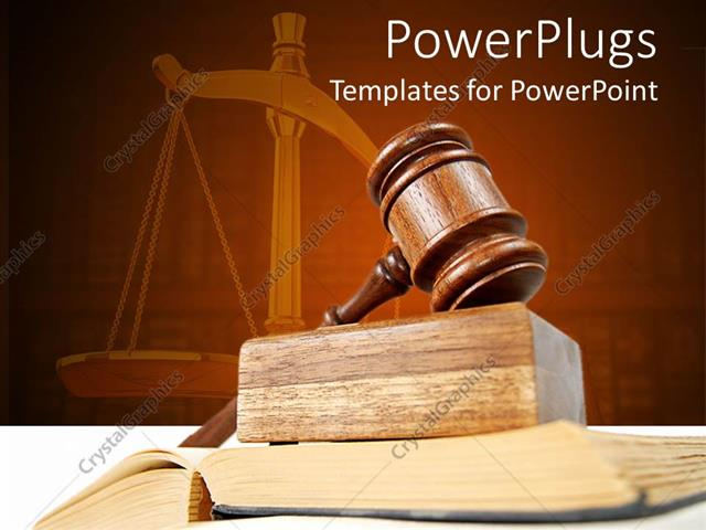 Powerpoint Template Legal Theme With Judges Gavel Atop Of Opened