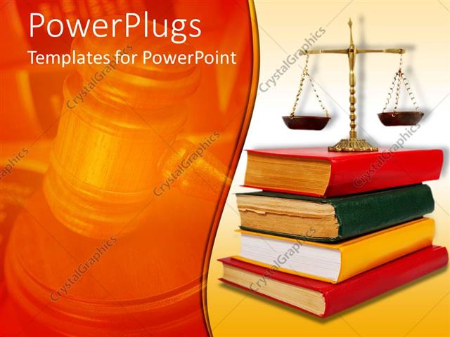 Powerpoint template legal theme with scales of justice atop of powerpoint template displaying legal theme with scales of justice atop of legal books with red yellow and toneelgroepblik Choice Image