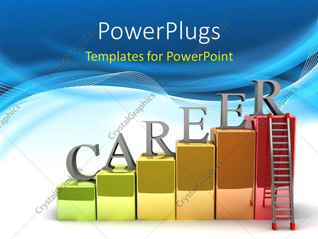 PowerPoint Template Displaying Letters Spelling Career on Colored Blocks on Abstract Blue and White Wave Backgorund