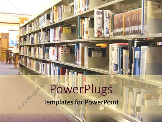 Powerpoint template library book shelves rows of books public powerpoint template displaying library book shelves rows of books public library education community toneelgroepblik Choice Image