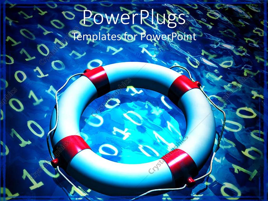 PowerPoint Template Displaying Lifesaver Tube Placed on Blue Surface with Binary Codes