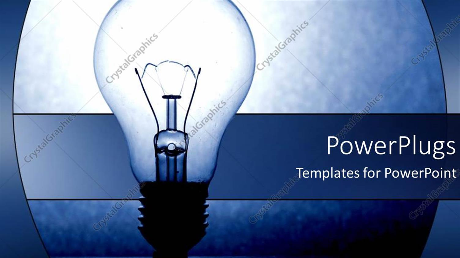 PowerPoint Template Displaying Light-Bulb as a Metaphor for Ideas on a Blue Background
