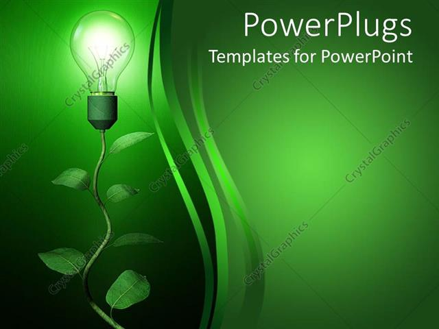 PowerPoint Template: light blub growing on branch on green