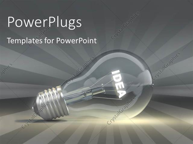PowerPoint Template Displaying Light Bulb Depicting Innovation and Idea with Rays in the Background