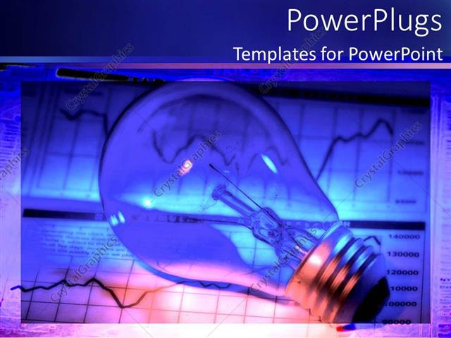 PowerPoint Template Displaying Light Bulb Over Two Financial Chart of Binary Options in Background