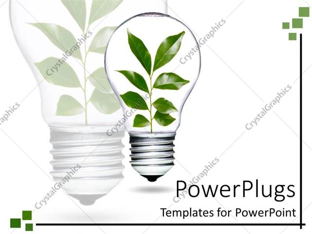 PowerPoint Template Displaying Light Bulb with Plant and Green Leaves Growing and Living as a Metaphor of Environment Over Technology on a White