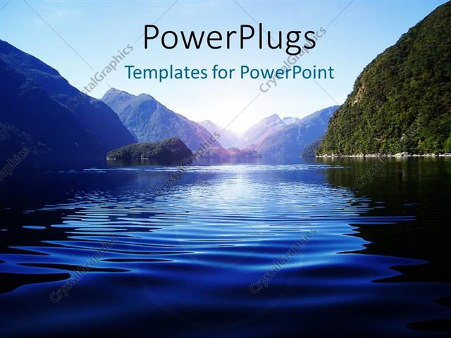 PowerPoint Template Displaying Light Glow Over Water Surface with Water Ripples and Mountains