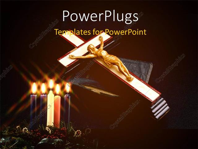PowerPoint Template Displaying Lighted Candles in Flower with Gold Plated Jesus Nailed to Cross on Holy Book