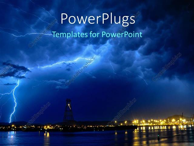 Powerpoint template lightning storm at night over seaside town 29564 powerpoint template displaying lightning storm at night over seaside town toneelgroepblik Choice Image