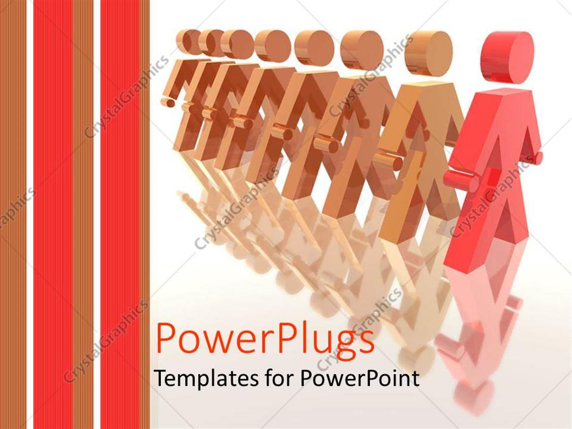 PowerPoint Template Displaying Line of Brown Human Figures on a Line with a Red One in Front