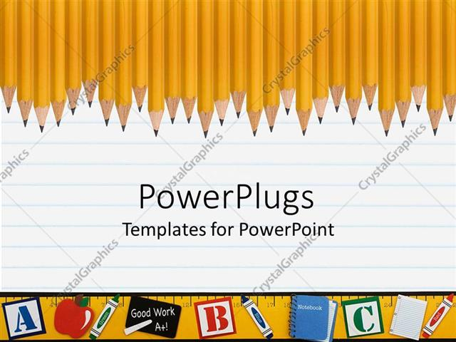 PowerPoint Template Displaying Line of Sharp Yellow Pencils on a Loose Leaf Pad, ABC and Books