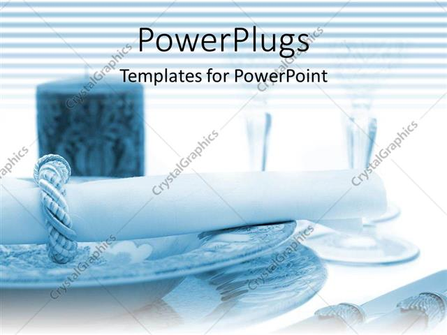 Powerpoint Template Linen Napkin In Ring On Decorative Place