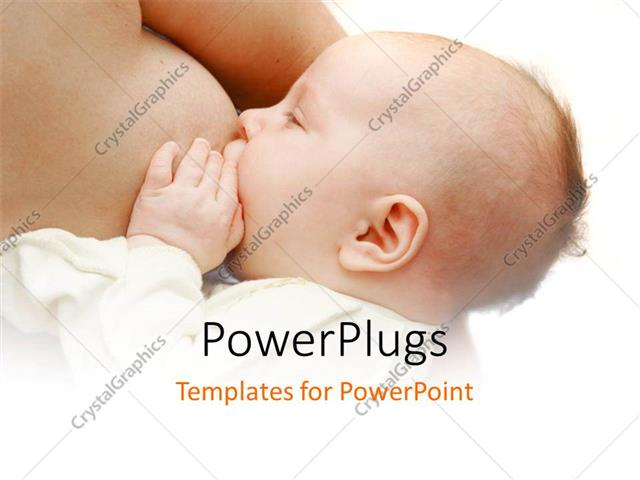 PowerPoint Template Displaying little Baby Feeding from Mother's Breast on White Background