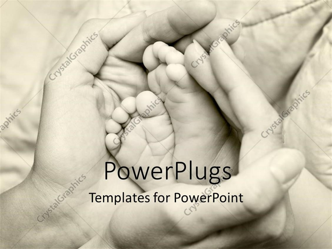 PowerPoint Template Displaying little Baby's Feet in Hands of Mother